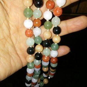 Genuine multi colored jade necklace